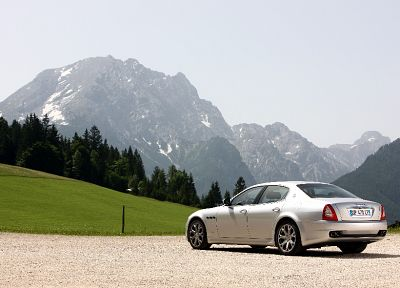 cars, vehicles, Maserati Quattroporte, rear angle view - desktop wallpaper