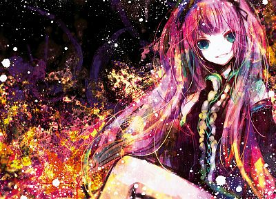 abstract, Vocaloid, gloves, Megurine Luka, long hair, pink hair, twintails, smiling, sitting, aqua eyes, anime girls, hair ornaments, bangs, bare shoulders, black gloves - desktop wallpaper