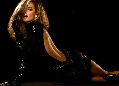 blondes, women, Alessandra Ambrosio, black dress, backless clothing - random desktop wallpaper