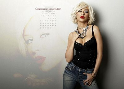 women, jeans, Christina Aguilera, calendar - random desktop wallpaper