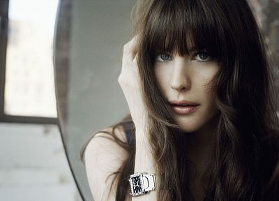 brunettes, women, blue eyes, actress, Liv Tyler, watch - related desktop wallpaper