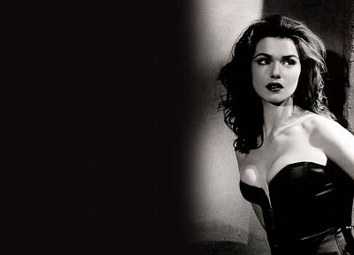 women, actress, Rachel Weisz, grayscale, monochrome - desktop wallpaper