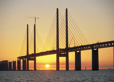 sunset, Sun, bridges, sea, construction - random desktop wallpaper