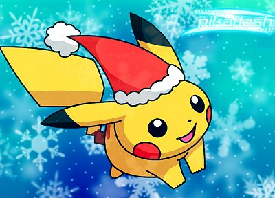 Pikachu, Christmas, snowflakes - desktop wallpaper