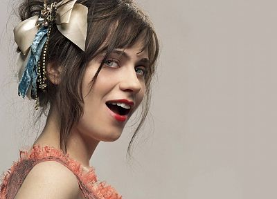 women, Zooey Deschanel, simple background - random desktop wallpaper