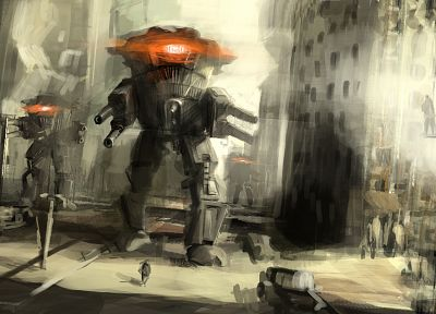 robots, futuristic, mecha, artwork, cities, attack - related desktop wallpaper