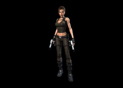 Tomb Raider, CGI, Lara Croft, weapons, black background - desktop wallpaper