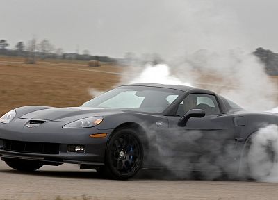 cars, vehicles, burnout, Chevrolet Corvette ZR1, side view, automobiles - random desktop wallpaper