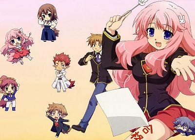 school uniforms, chibi, Baka to Test to Shoukanjuu, anime, Kinoshita Hideyoshi, simple background, Himeji Mizuki, Shimada Minami, Yoshii Akihisa, Sakamoto Yuuji, Tsuchiya Kouta - desktop wallpaper