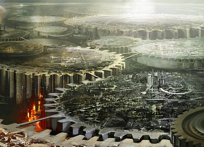 cityscapes, futuristic, buildings, gears, Guild Wars 2, Daniel Dociu - desktop wallpaper