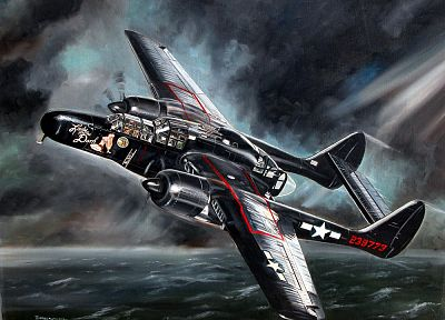 aircraft, dark, Black Widow, artwork, vehicles, nose art - desktop wallpaper