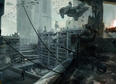 soldiers, war, futuristic, weapons, sniper rifles, artwork - desktop wallpaper