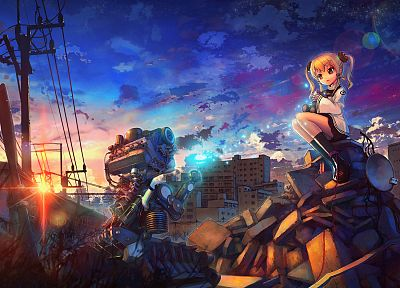 cityscapes, robots, buildings, wrecks, soft shading, anime girls - related desktop wallpaper