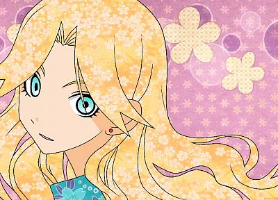 blondes, Sayonara Zetsubou Sensei, flowers, blue eyes, patterns, long hair, earrings, open mouth, anime girls, faces, looking back, Kimura Kaere, pink background - desktop wallpaper