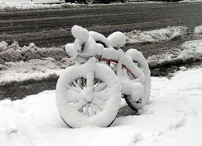 winter, snow, bicycles, fluffy, roads - related desktop wallpaper