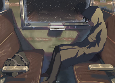trains, Makoto Shinkai, lonely, 5 Centimeters Per Second, artwork, vehicles, anime, travel - desktop wallpaper