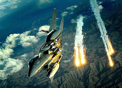 aircraft, flares, F-15 Eagle - related desktop wallpaper