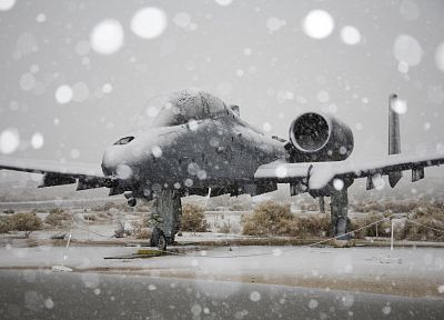 snow, aircraft, military, Warthog, A-10 Thunderbolt II, A-10 - related desktop wallpaper