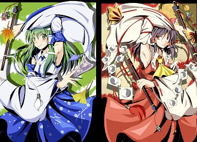 brunettes, video games, Touhou, dress, leaves, skirts, long hair, snakes, green eyes, Miko, red eyes, green hair, Hakurei Reimu, smiling, blush, bows, red dress, armpits, Kochiya Sanae, staff, Japanese clothes, anime girls, gohei, detached sleeves, ofuda, - random desktop wallpaper