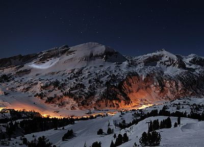 mountains, snow, night, valleys, long exposure - random desktop wallpaper