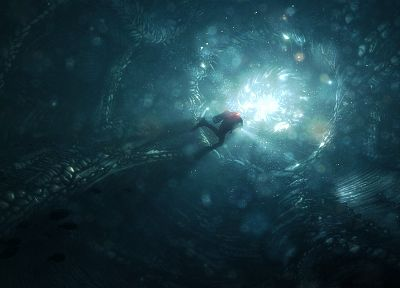 light, fantasy art, scuba diving, underwater, Daniel Kvasznicza - random desktop wallpaper