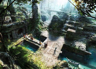 forests, fantasy art, artwork, temples - random desktop wallpaper