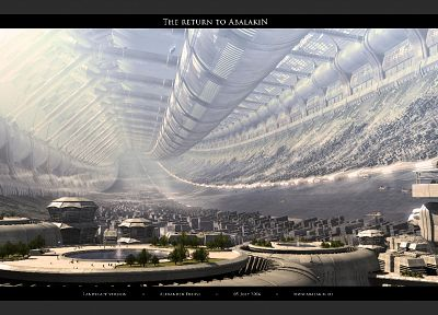 futuristic, architecture, buildings, digital art, Stanford torus - desktop wallpaper