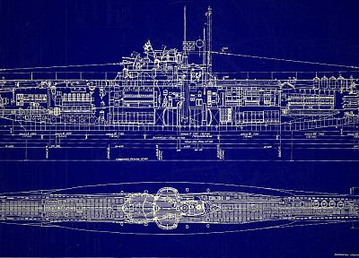 submarine, blueprints, navy, schematic - desktop wallpaper