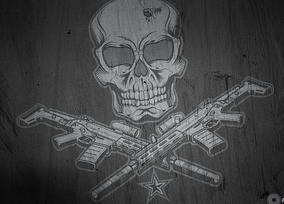 skulls, guns, weapons - random desktop wallpaper