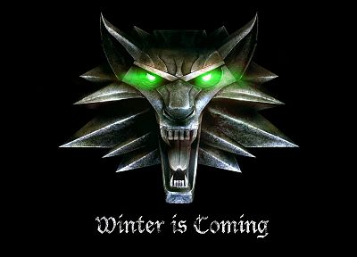 The Witcher, green eyes, alternative art, Winter is Coming, direwolf, black background - random desktop wallpaper