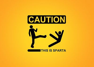 Sparta, funny, warning, caution, stick figures, awesomeness - random desktop wallpaper