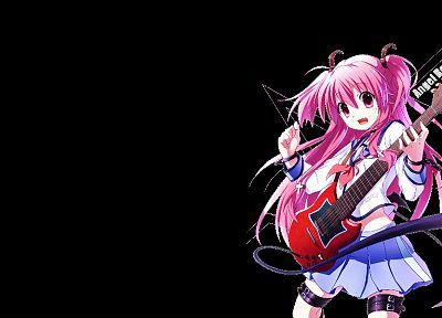 Angel Beats!, black background, Yui (Angel Beats) - random desktop wallpaper