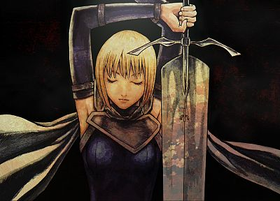 blondes, Claymore, Clare, anime girls, swords, arms raised - related desktop wallpaper