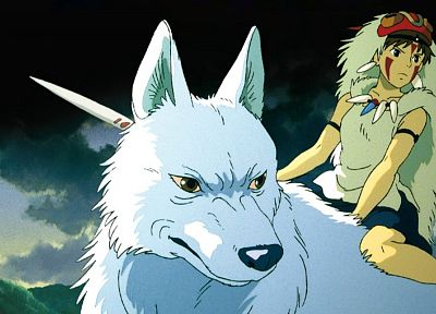 Princess Mononoke, Moro, wolves, San (Princess Mononoke) - desktop wallpaper
