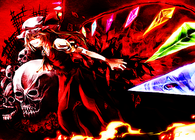 video games, Touhou, wings, vampires, Flandre Scarlet - random desktop wallpaper