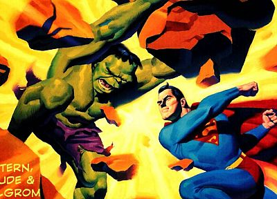 Hulk (comic character), Superman, superheroes, rocks, battles - related desktop wallpaper