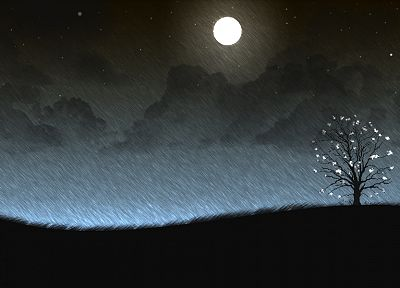 clouds, trees, rain, flowers, Moon, artwork - related desktop wallpaper