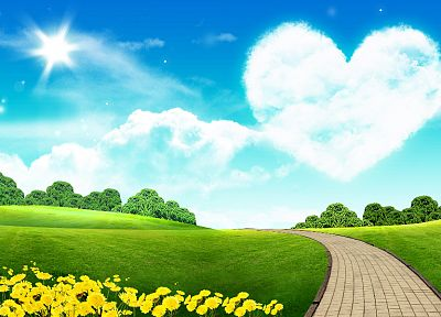 green, Sun, yellow, grass, roads, bricks, hearts - desktop wallpaper