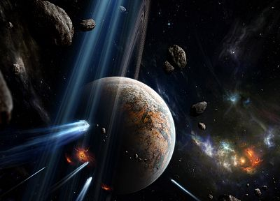 outer space, stars, planets, rings, asteroids - desktop wallpaper