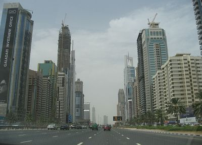 streets, Dubai, traffic, skyscrapers - random desktop wallpaper