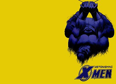 comics, X-Men, yellow background, astonishing x-men, Hank McCoy (Beast) - desktop wallpaper