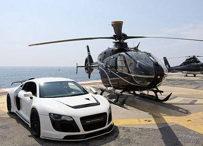 helicopters, cars, vehicles, Audi R8 Razor GTR, white cars, Eurocopter, EC135 - related desktop wallpaper