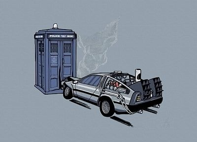 cars, TARDIS, Back to the Future, Doctor Who, crossovers - related desktop wallpaper