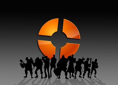 video games, silhouettes, Team Fortress 2, logos - related desktop wallpaper