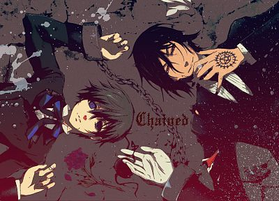 suit, Kuroshitsuji, Ciel Phantomhive, Sebastian Michaelis, anime, anime boys, chains, roses, butler - related desktop wallpaper