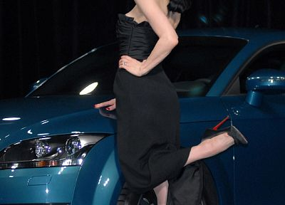 cars, Dita Von Teese, high heels, black dress, Audi TT, girls with cars - related desktop wallpaper