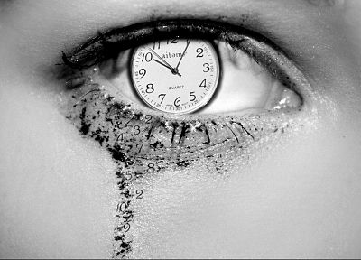 eyes, clocks, grayscale, monochrome, photo manipulation - desktop wallpaper