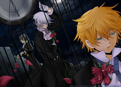 brunettes, blondes, flowers, clocks, ribbons, Pandora Hearts, anime, anime boys, Gilbert Nightray, Oz Vessalius, white hair, Xerxes Break, flower petals, white gloves - desktop wallpaper