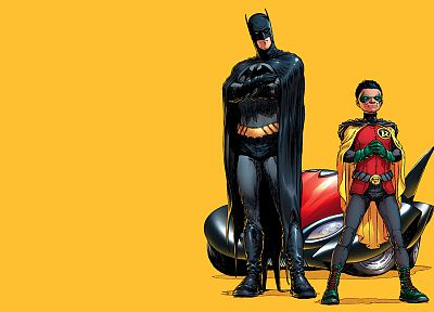 Batman, Robin, comics, Batmobile - desktop wallpaper