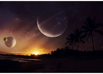 sunset, outer space, planets, beaches - related desktop wallpaper
